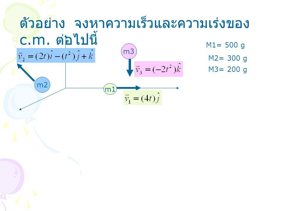 ตัวอย่าง จงหาความเร็วและความเร่งของ c.m. ต่อไปนี้