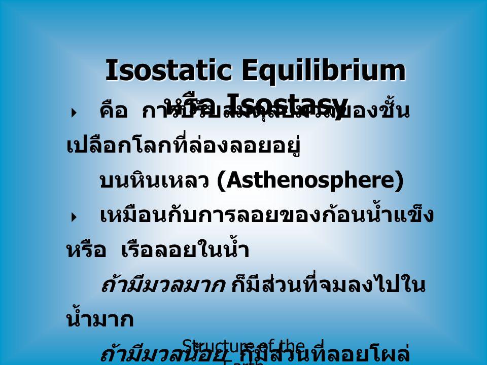 Isostatic Equilibrium หรือ Isostasy