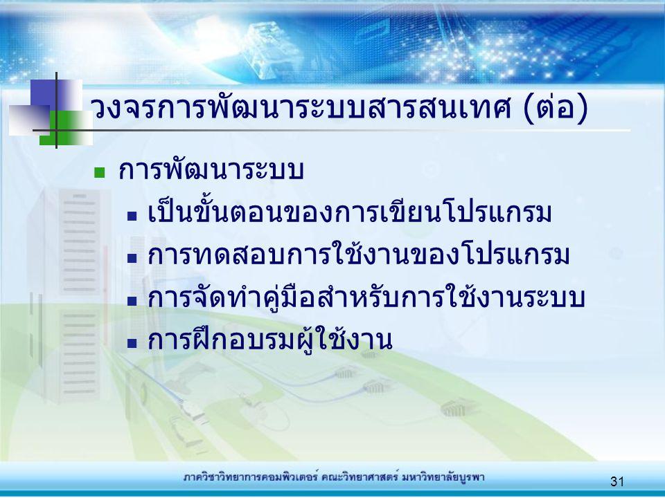 วงจรการพัฒนาระบบสารสนเทศ (ต่อ)