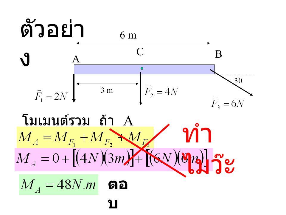 ตัวอย่าง 6 m C B A 30 3 m โมเมนต์รวม ถ้า A เป็นจุดหมุน ทำไมว๊ะ ตอบ