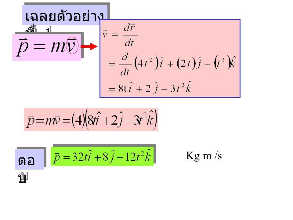 เฉลยตัวอย่างที่ 1 Kg m /s ตอบ