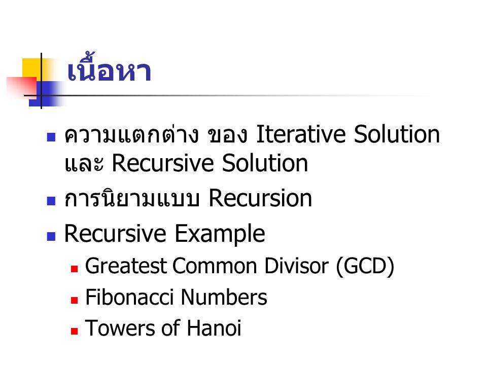 เนื้อหา ความแตกต่าง ของ Iterative Solution และ Recursive Solution