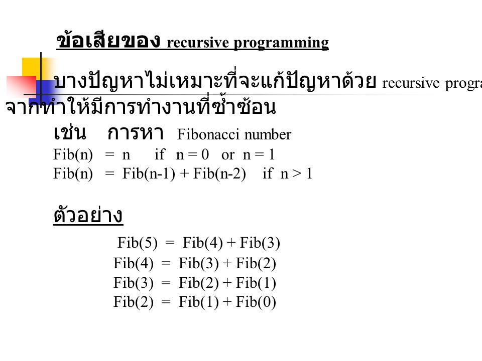 ข้อเสียของ recursive programming