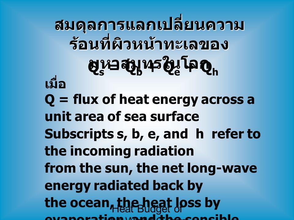สมดุลการแลกเปลี่ยนความร้อนที่ผิวหน้าทะเลของมหาสมุทรในโลก