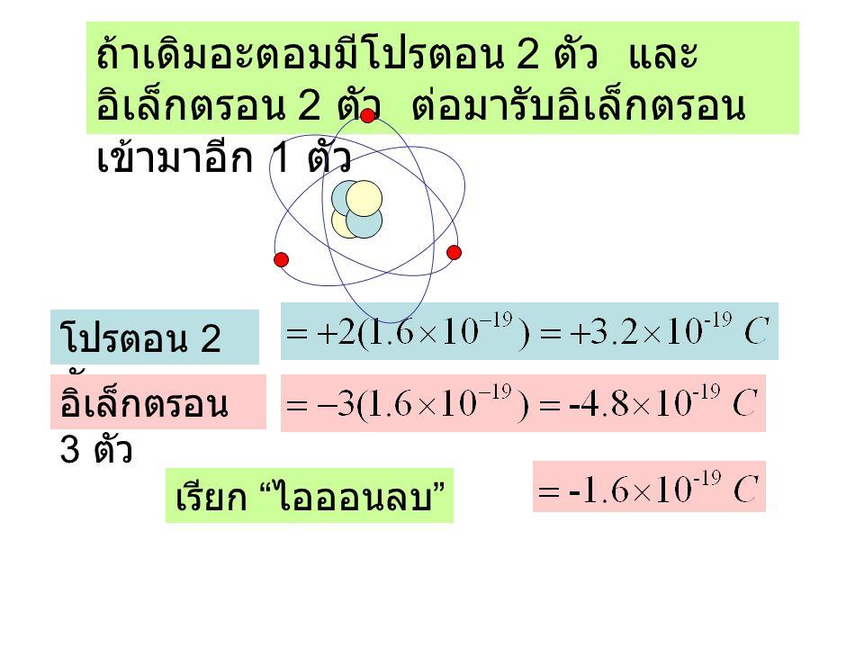 ถ้าเดิมอะตอมมีโปรตอน 2 ตัว และอิเล็กตรอน 2 ตัว ต่อมารับอิเล็กตรอนเข้ามาอีก 1 ตัว