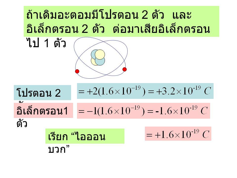 ถ้าเดิมอะตอมมีโปรตอน 2 ตัว และอิเล็กตรอน 2 ตัว ต่อมาเสียอิเล็กตรอนไป 1 ตัว