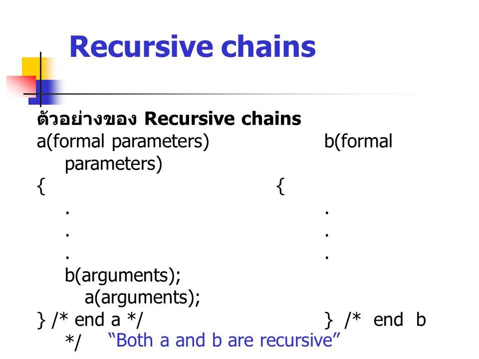 Recursive chains ตัวอย่างของ Recursive chains