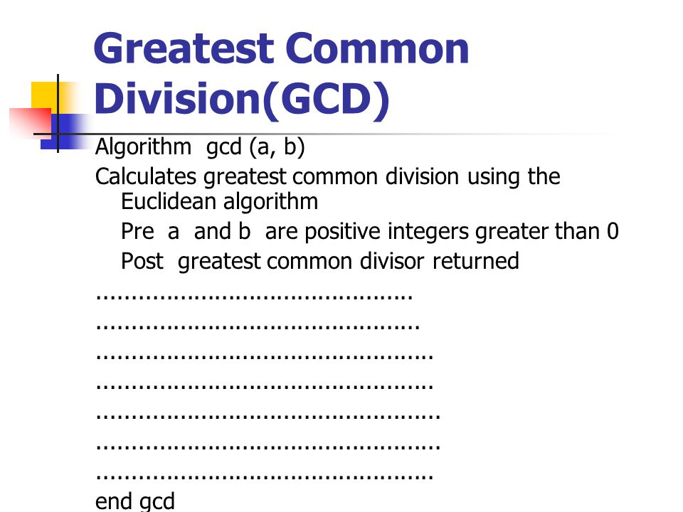 Greatest Common Division(GCD)