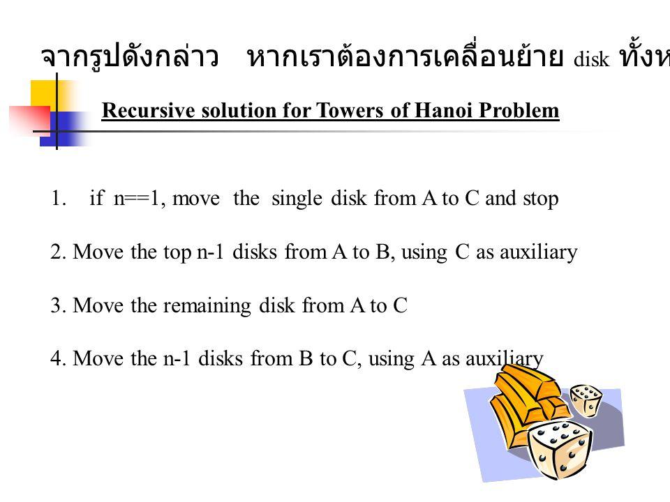 จากรูปดังกล่าว หากเราต้องการเคลื่อนย้าย disk ทั้งหมดจาก A ไป C