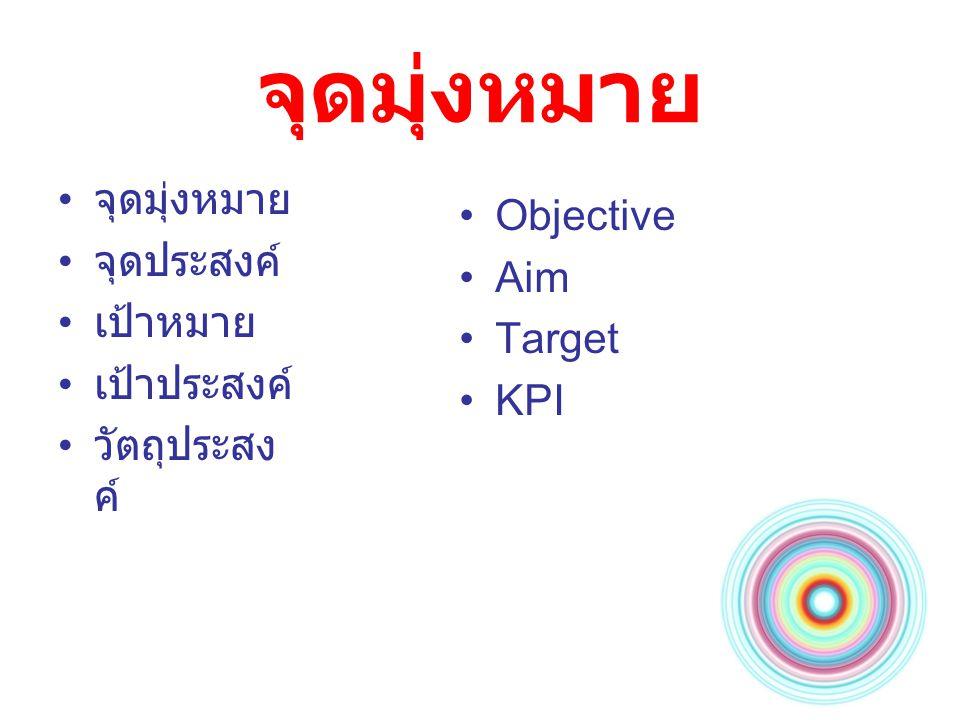 จุดมุ่งหมาย จุดมุ่งหมาย Objective จุดประสงค์ Aim เป้าหมาย Target