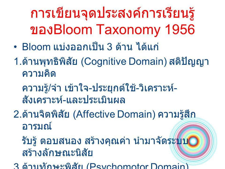 การเขียนจุดประสงค์การเรียนรู้ ของBloom Taxonomy 1956