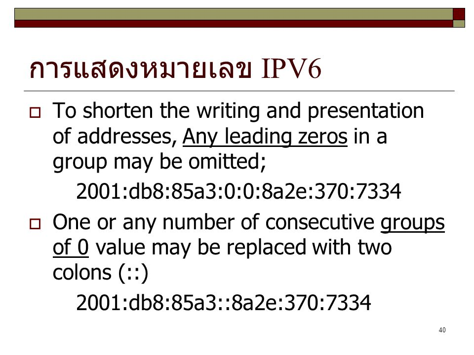 การแสดงหมายเลข IPV6 To shorten the writing and presentation of addresses, Any leading zeros in a group may be omitted;