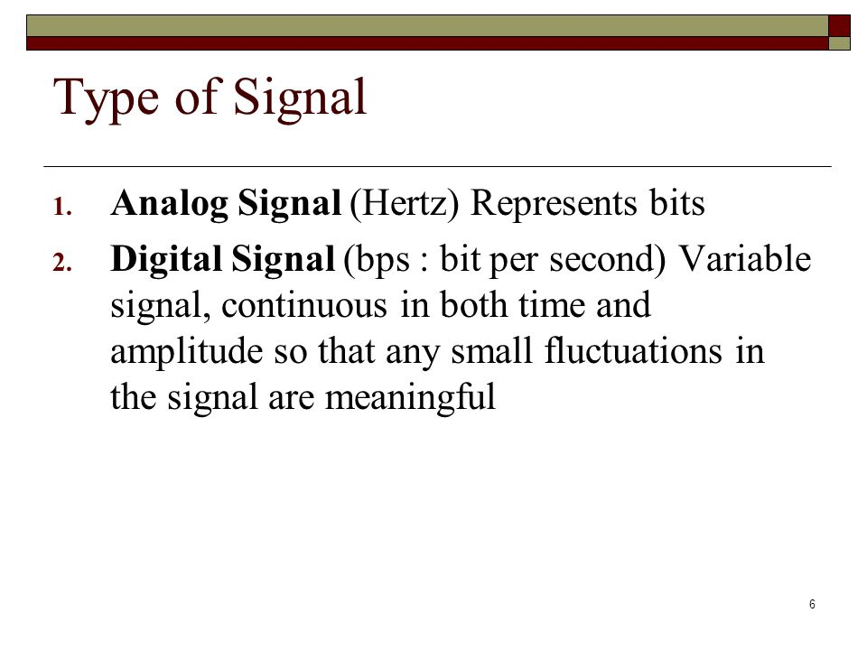 Type of Signal Analog Signal (Hertz) Represents bits