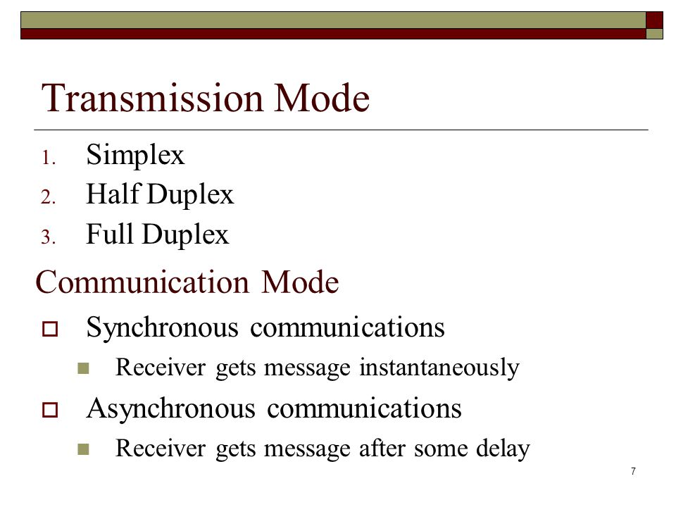 Transmission Mode Communication Mode Simplex Half Duplex Full Duplex