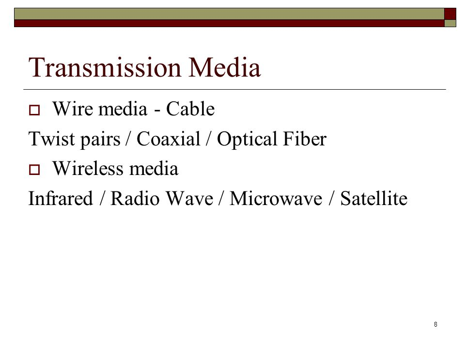 Transmission Media Wire media - Cable