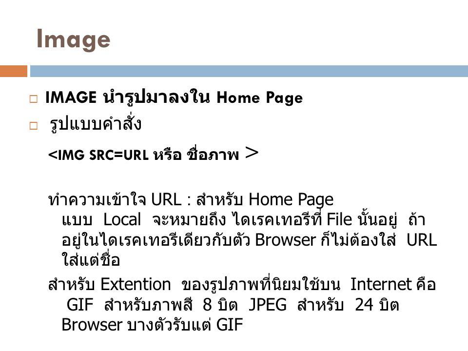 Image IMAGE นำรูปมาลงใน Home Page รูปแบบคำสั่ง