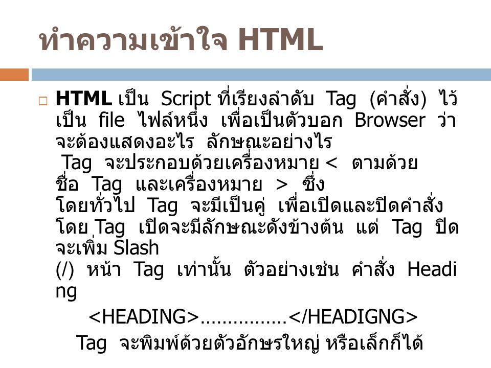 ทำความเข้าใจ HTML