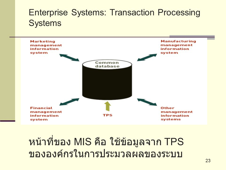หน้าที่ของ MIS คือ ใช้ข้อมูลจาก TPS ขององค์กรในการประมวลผลของระบบ