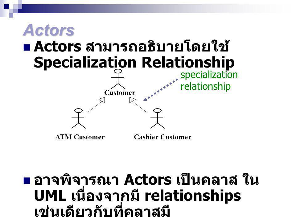 Actors Actors สามารถอธิบายโดยใช้ Specialization Relationship