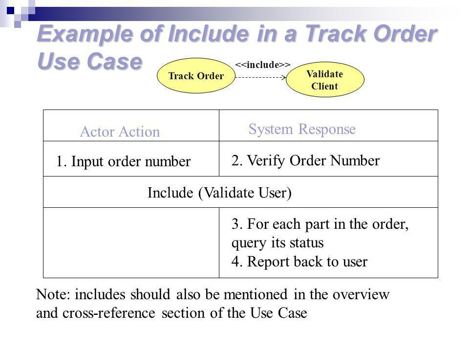 Example of Include in a Track Order Use Case