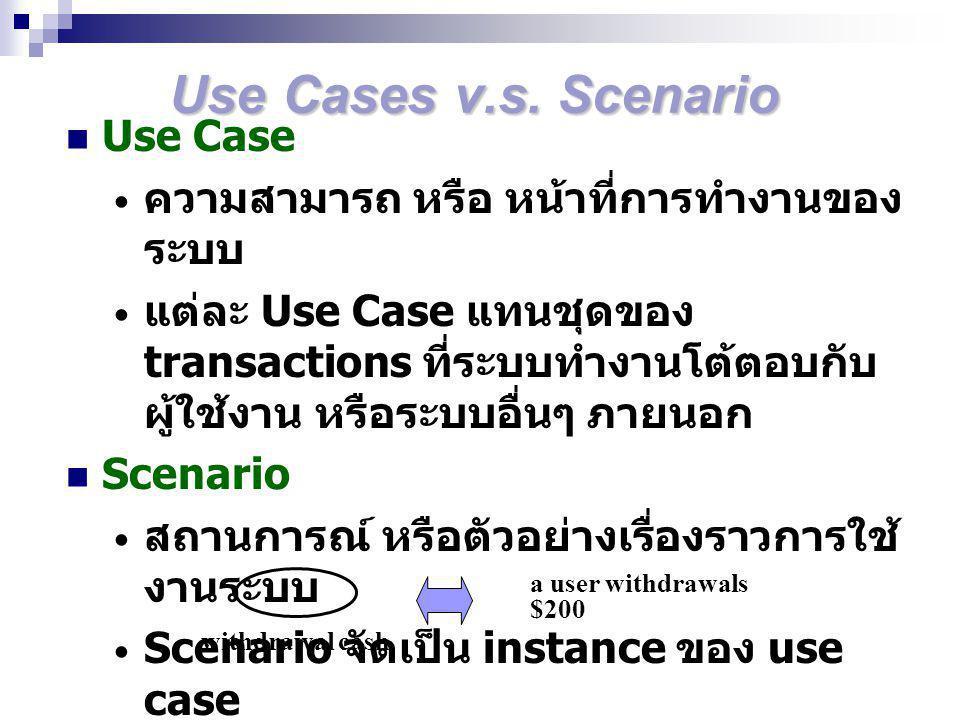 Use Cases v.s. Scenario Use Case