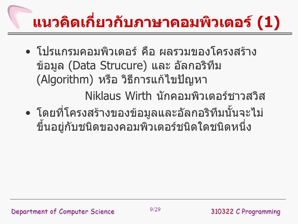 แนวคิดเกี่ยวกับภาษาคอมพิวเตอร์ (1)