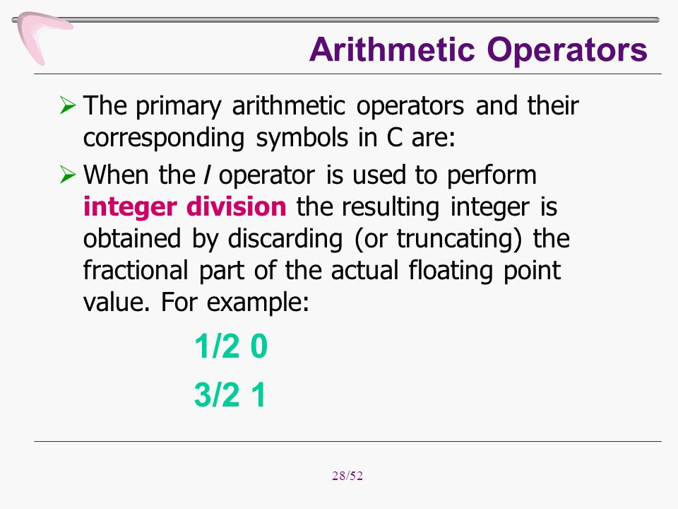 Arithmetic Operators 1/2 0 3/2 1