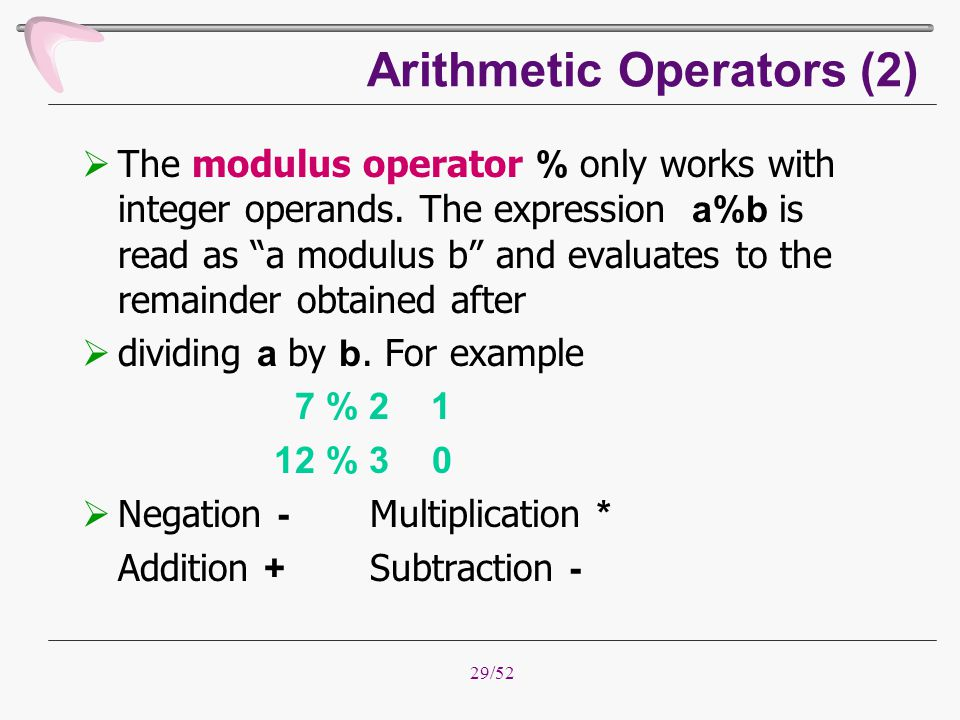 Arithmetic Operators (2)