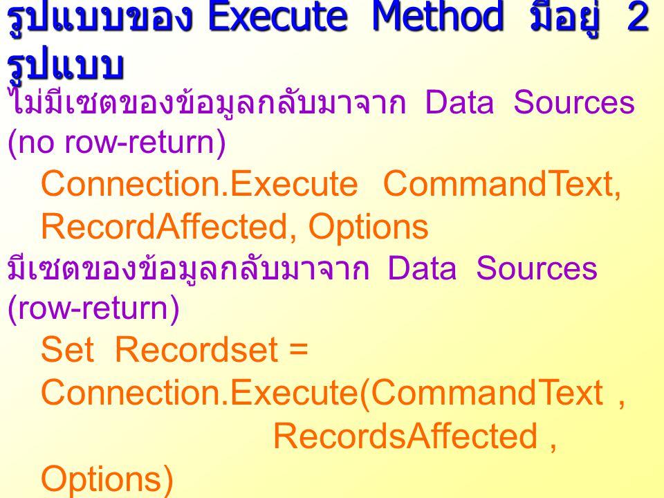 รูปแบบของ Execute Method มีอยู่ 2 รูปแบบ