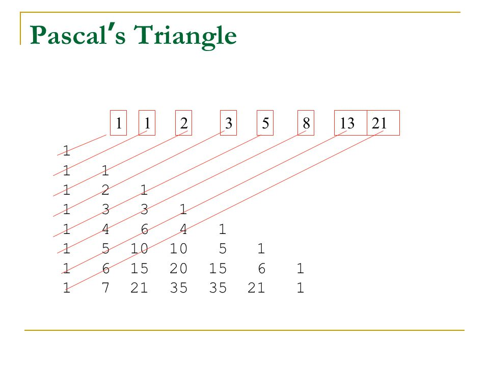 Pascal's Triangle 3. 5. 2. 1. 8. 1. 13. 21.