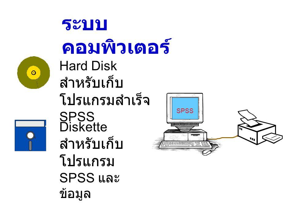 ระบบคอมพิวเตอร์ Hard Disk สำหรับเก็บโปรแกรมสำเร็จ SPSS