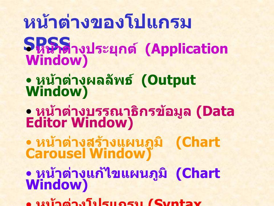 หน้าต่างของโปแกรม SPSS