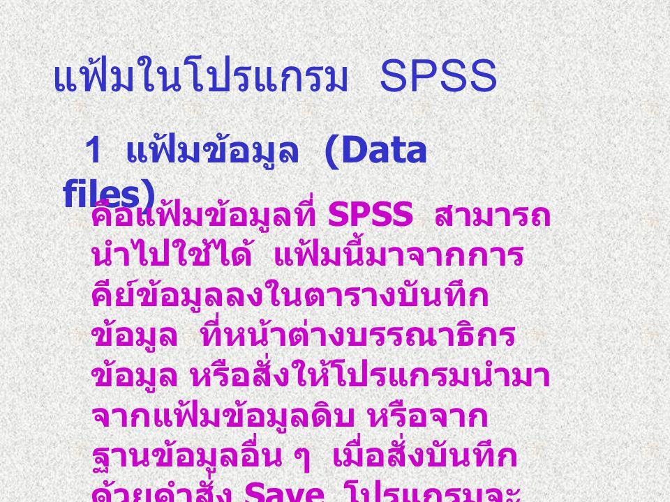 แฟ้มในโปรแกรม SPSS 1 แฟ้มข้อมูล (Data files)