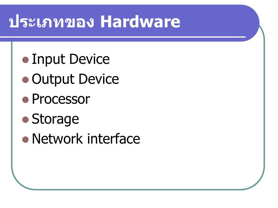 ประเภทของ Hardware Input Device Output Device Processor Storage