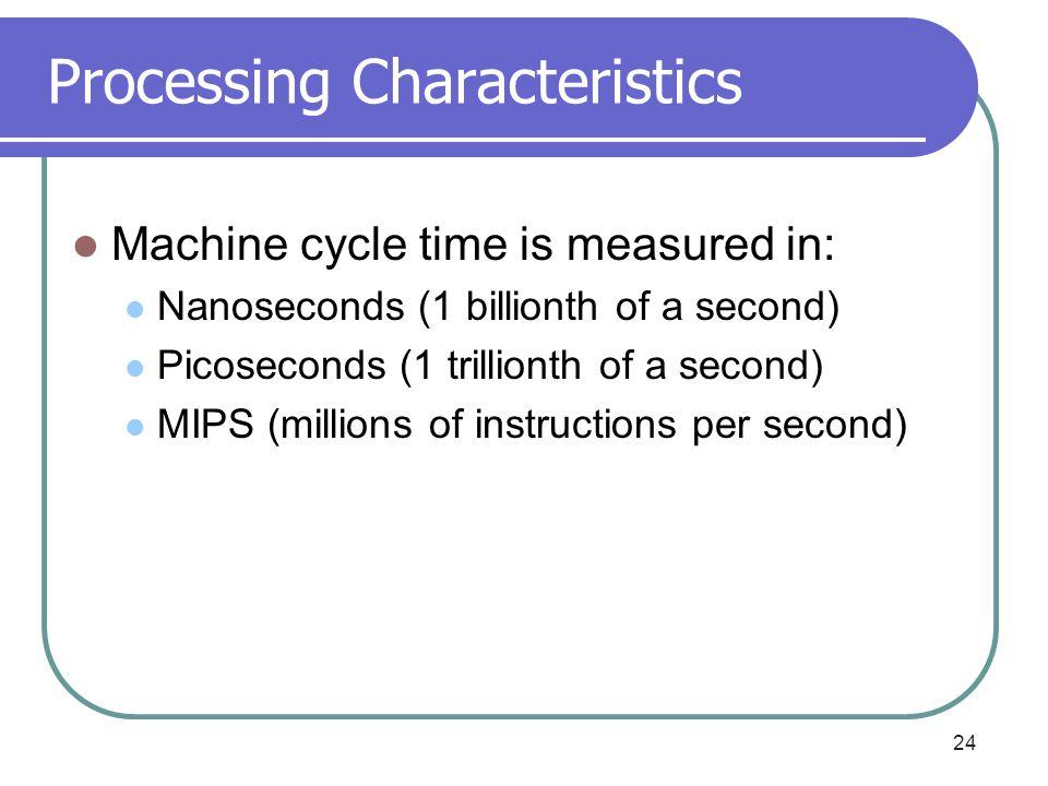 Processing Characteristics