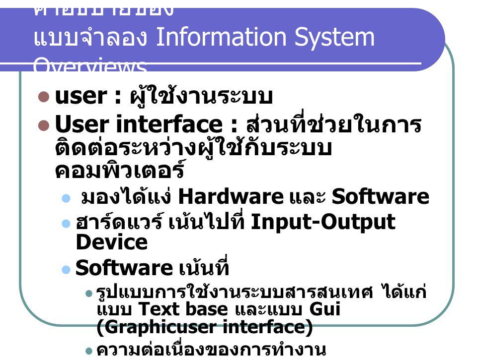 คำอธิบายของ แบบจำลอง Information System Overviews