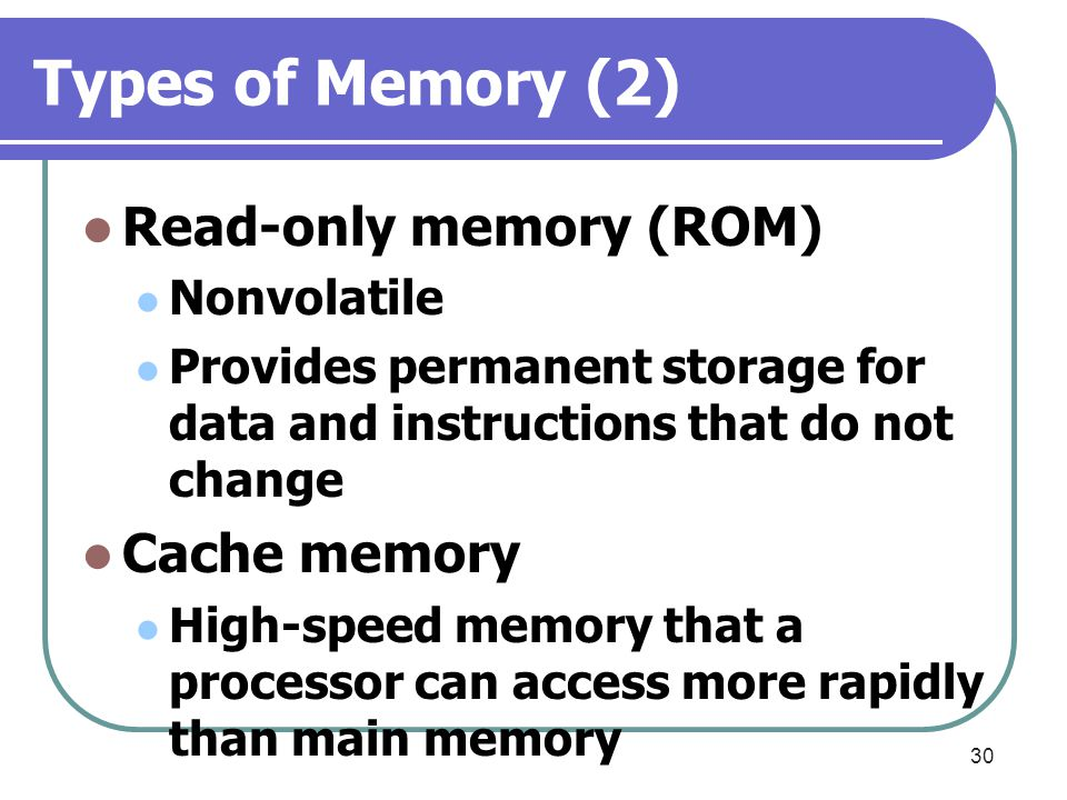 Types of Memory (2) Read-only memory (ROM) Cache memory Nonvolatile