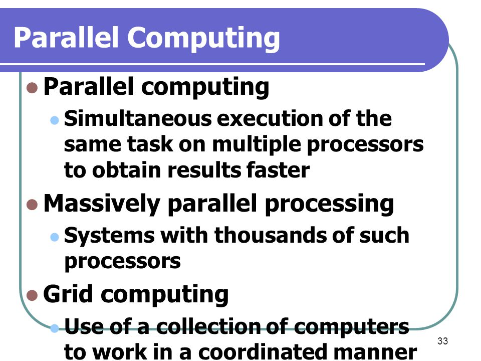 Parallel Computing Parallel computing Massively parallel processing