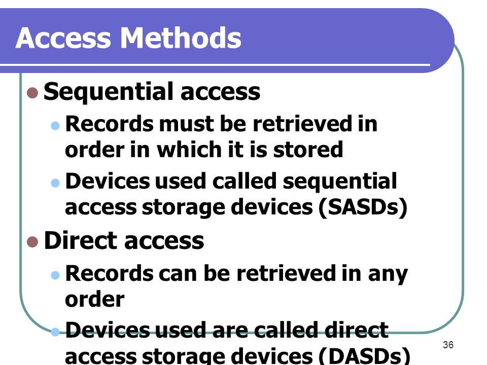 Access Methods Sequential access Direct access