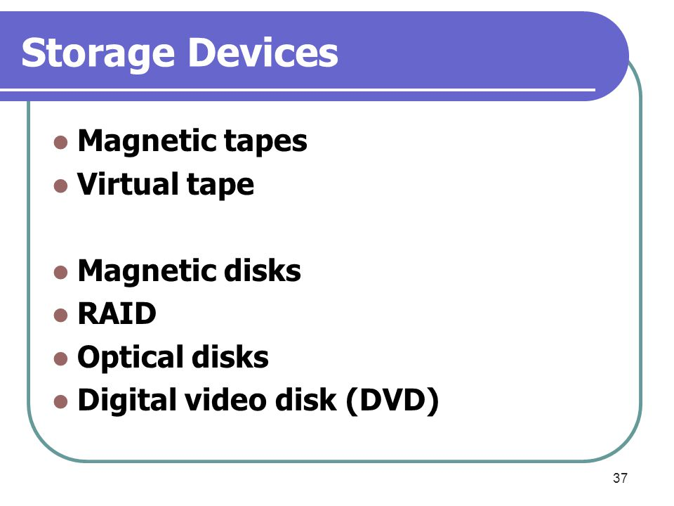 Storage Devices Magnetic tapes Virtual tape Magnetic disks RAID