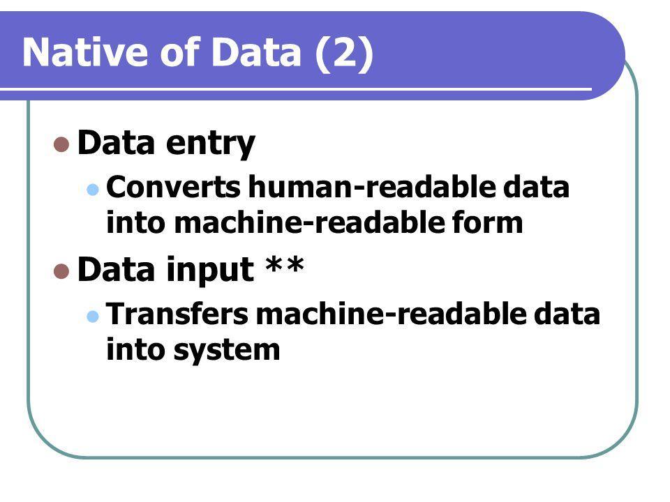 Native of Data (2) Data entry Data input **