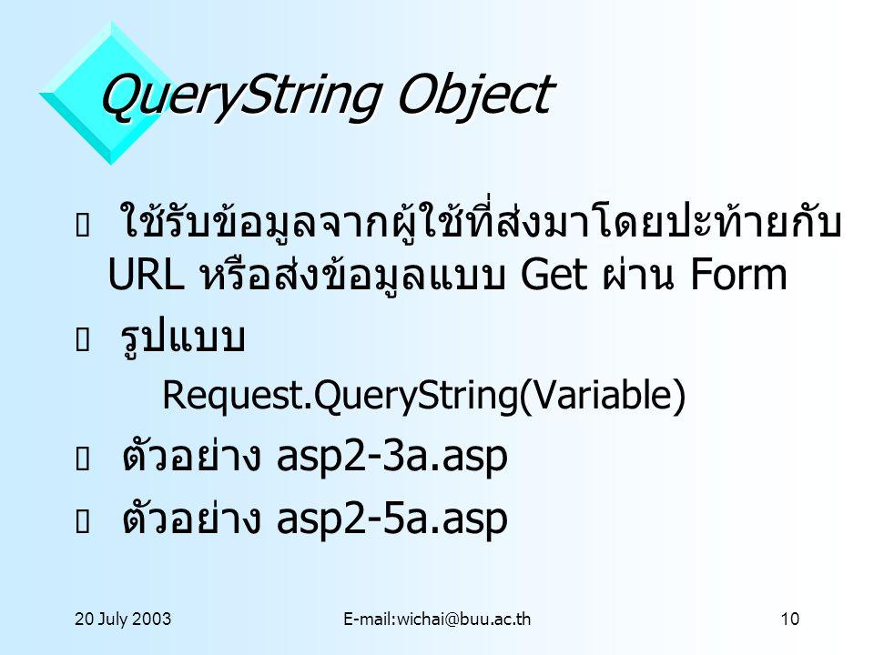 20 July 2001 QueryString Object. ใช้รับข้อมูลจากผู้ใช้ที่ส่งมาโดยปะท้ายกับ URL หรือส่งข้อมูลแบบ Get ผ่าน Form.