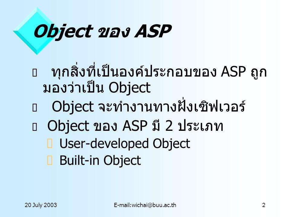 Object ของ ASP ทุกสิ่งที่เป็นองค์ประกอบของ ASP ถูกมองว่าเป็น Object