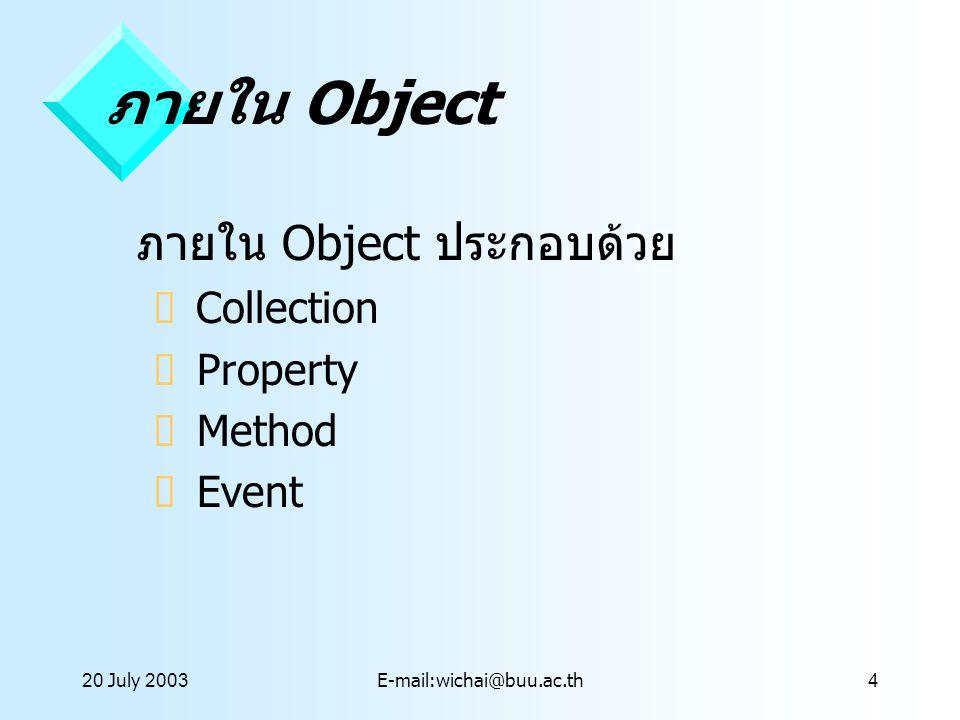 ภายใน Object ภายใน Object ประกอบด้วย Collection Property Method Event