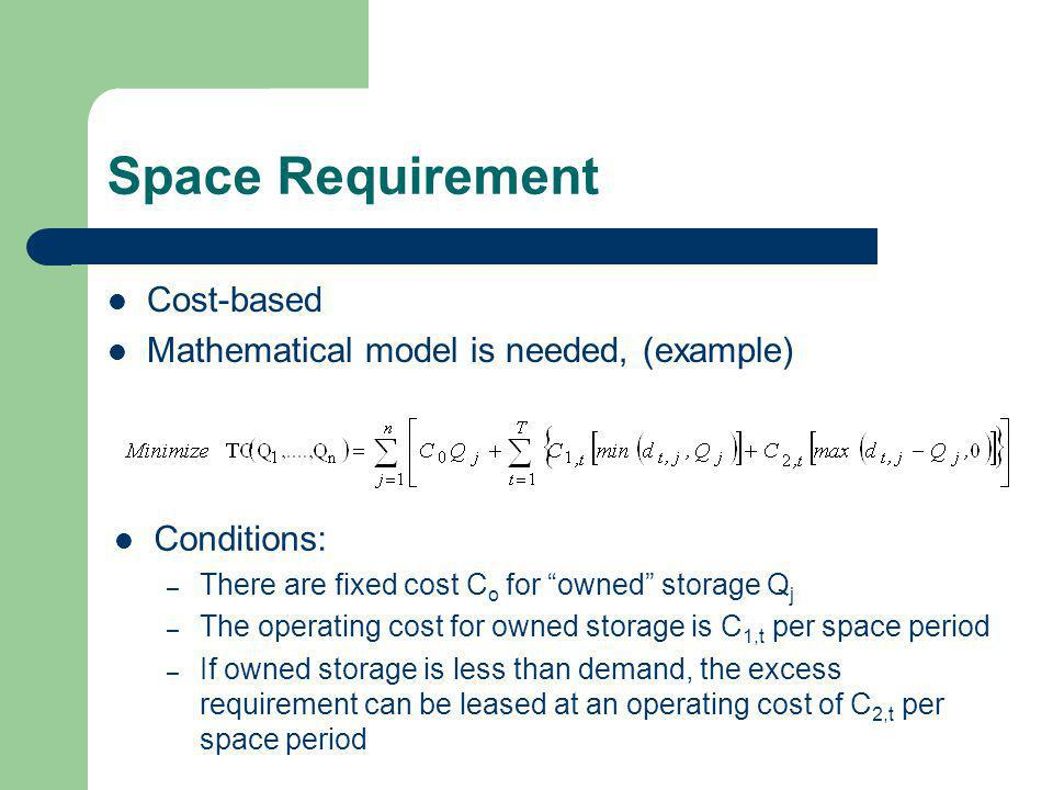 Space Requirement Cost-based Mathematical model is needed, (example)