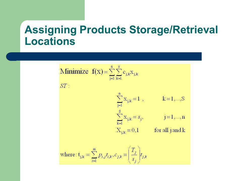 Assigning Products Storage/Retrieval Locations