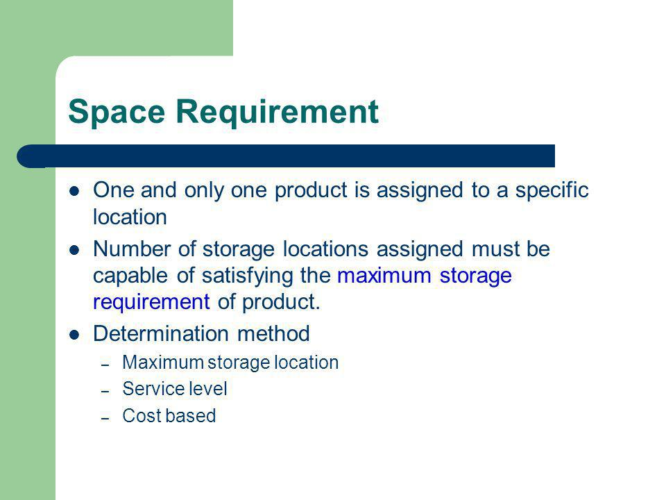 Space Requirement One and only one product is assigned to a specific location.