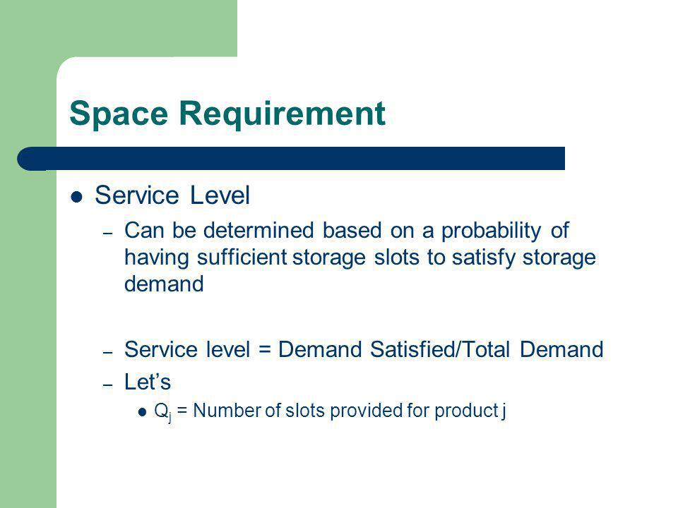 Space Requirement Service Level