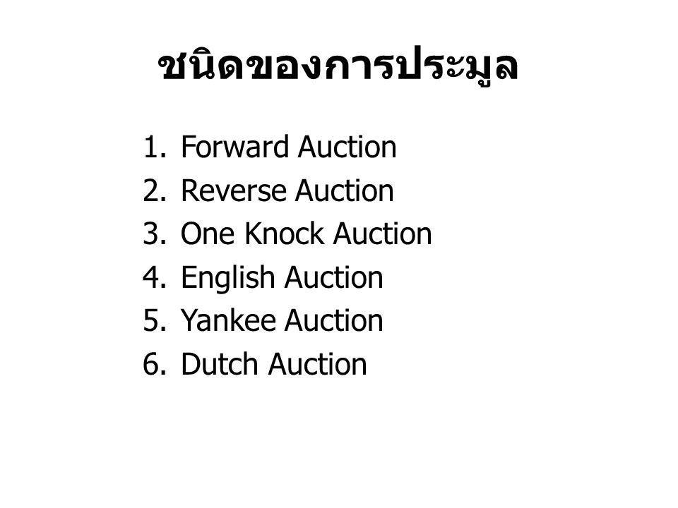 ชนิดของการประมูล Forward Auction Reverse Auction One Knock Auction