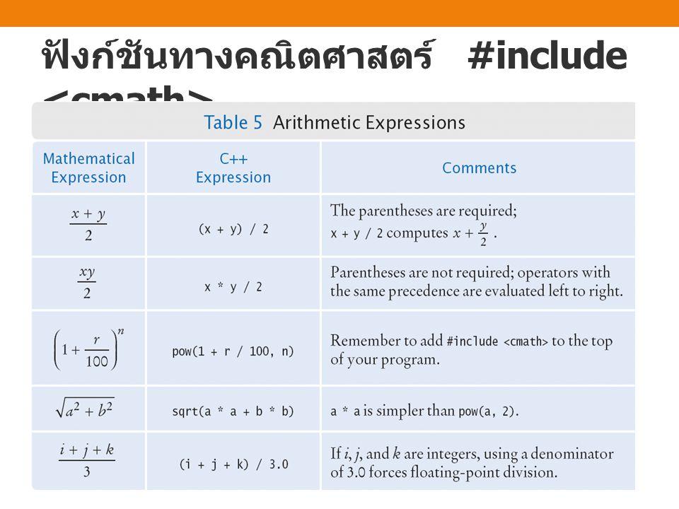ฟังก์ชันทางคณิตศาสตร์ #include <cmath>